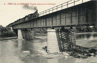 Pont metal·lic dobre el riu Llobregat del ferrocarril de MZA