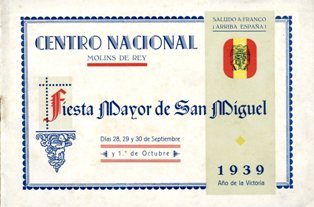 Portada del programa de la Festa Major de Molins de Rei. 1939