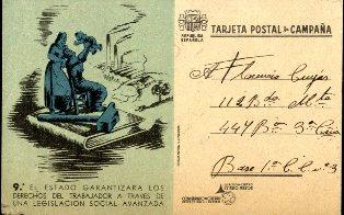 Tarja postal utilitzada pels soldats del front. Aquesta en concret va ser enviada per un santjoanenc un mes i mig abans de l'acabament de la guerra. ACBL. Col·lecció de documents esparsos